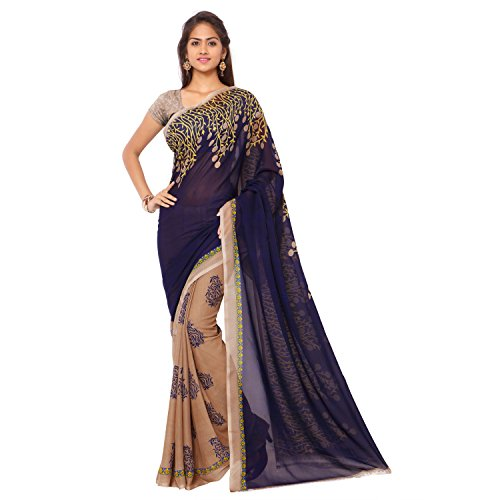 Anand Sarees Georgette Saree with Blouse Piece (1180_A_beige_Free size)