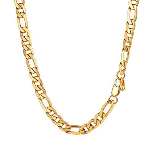 PROSTEEL Herren Figarokette Halskette 3+1 glänzend Edelstahl Figaro-Panzerkette 9mm Gliederkette Herren Hip-Hop Kette, 66CM lang, Gold