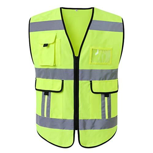 LQ Reflektierende Warnweste Traffic Ride at Night Arbeitskleidung Komfortable und atmungsaktive Warnweste 2tlg Sicherheitswesten (Color : Fluorescent Yellow, Size : S) 2 Traffic Safety Vest