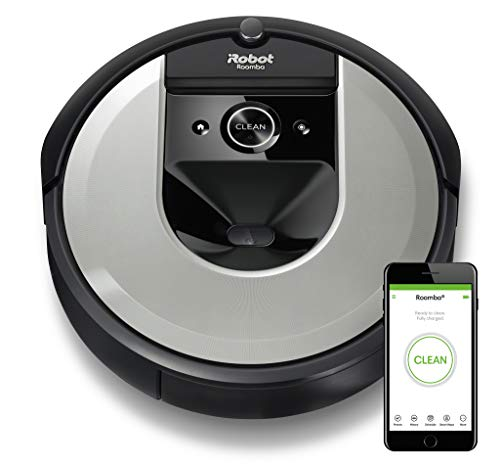 iRobot Roomba i7156 Robot Aspirador Adaptable al hogar, Ideal para Mascotas, Alta Potencia de succión con 2 cepillos de Goma, con conexión WiFi y programable por App, Plateado Claro