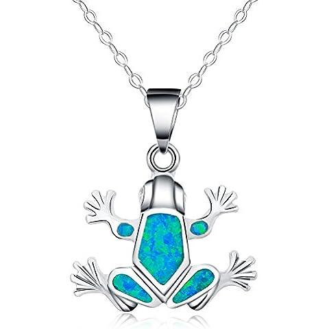 In argento Sterling 925, Opale sintetici blu con ciondolo collane a forma di rana