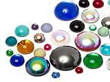 Star Bright Cabochons | Glasnuggets | Schmucksteine | Rund, 3.0-18.0mm, Color Multi Size Mix, 30 Stück