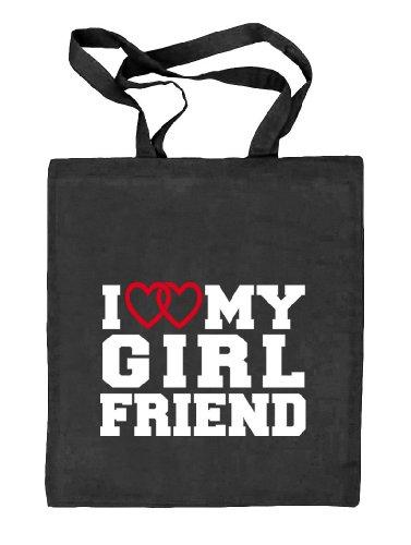 Shirtstreet24,I LOVE MY GIRLFRIEND 4,Valentinstag Valentine's Day Stoffbeutel Jute Tasche (ONE SIZE) schwarz natur
