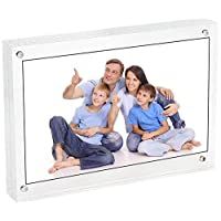 LANSCOERY Clear Acrylic Magnetic Picture Frams Double Sided Photo Display Stand Block Holder for Family Home Office Table Desktop Shelf Wedding (Style 2, 4x6Inch)