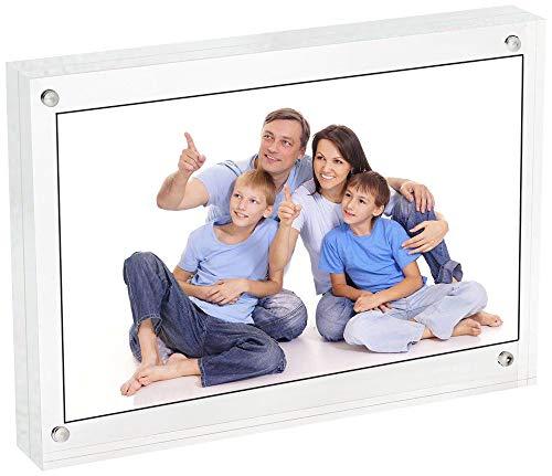 LANSCOERY Klares Acryl Bilderrahmen Magnetisch Fotorahmen Rahmen Doppelseitige Foto Display Ständer für Familie Home Office Tisch Desktop Regal Hochzeit (Typ 2, 12.8 x 17.8 cm; 5x7inch) (5x7 Hochzeit Rahmen)
