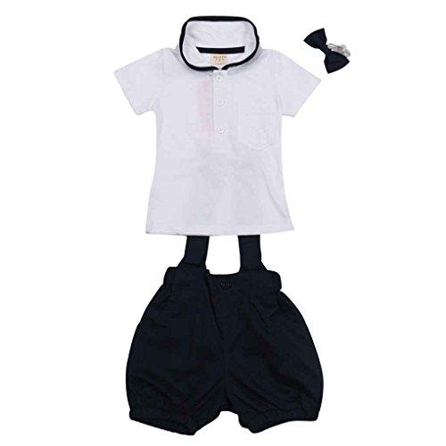 Minzhi Baby-Kind Kurzarm T-Shirt Top Strumpfhose Bow-tie Outfit Sets - Bow Strumpfhose