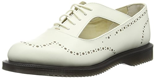 Dr. Martens Ruby Polished Smooth Off White, Brogues femme Blanc - Blanc