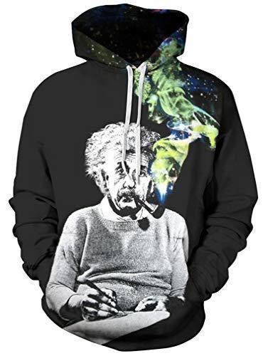 Ocean Plus Herren 3D Kapuzenpullover Hoodie Halloween Cosplay Sweatshirt Hooded Sweat Einzigartig Galaxie Pullover (L/XL (Brustumfang: 114-134CM), Einstein)