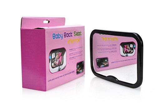 Zaazco Baby Car Mirror Black, Anti Reflective Border, Wide Convex Viewing Angle, Easy Install Straps, Super Safe, Shatterproof Acrylic