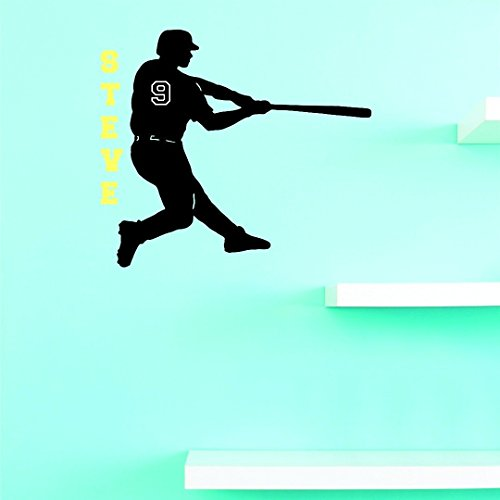 wandaufkleber 3d schlafzimmer Softball Baseball Bat Player Sports Team Personalized Name & Number Custom Boy Girl Name & Number Vinyl Wall Decal Sticker Childrens Bedroom 12 Inches X 12 Inches -