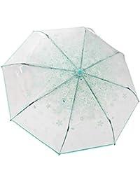 Claro transparente w de acero reforzado Costillas plegable de Cherry Blossom lluvia paraguas, verde