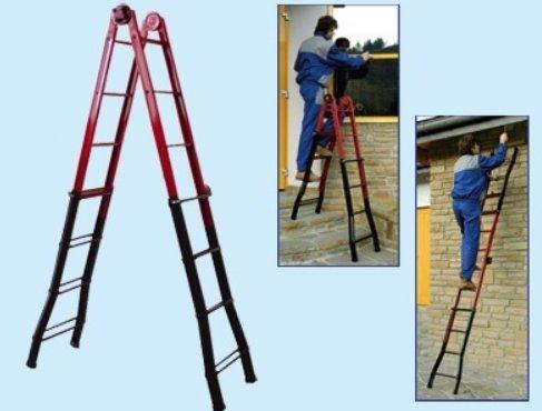 Stufen teleskopleiter mit schublade halterung edelstahl fünf