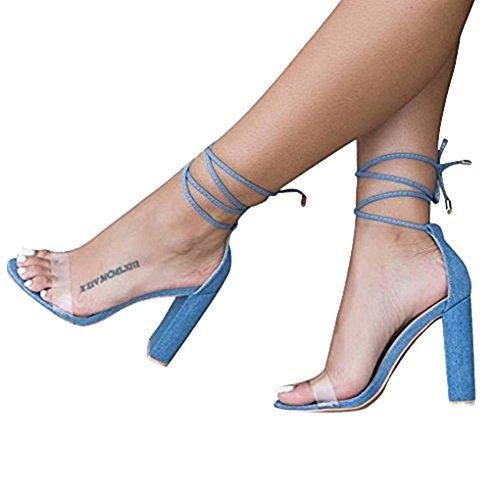Minetom Damen Sandaletten Plateau Blockabsatz High Heels Schuhe Flandell Blau EU 40