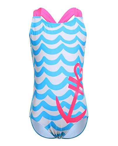 iDrawl Mädchen Bademode One Piece Badeanzüge Sommer Strandwear UV Schutz Swimsuit Blau,10-12 Jahre - Mädchen One Piece Bademode