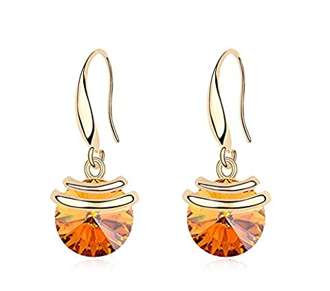 ufengke® Austrian Crystal Fashion Round Crystal Drop Earrings Gold Pated Women Girls Gift, Yellow