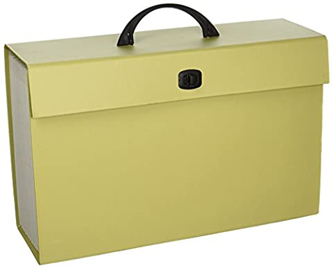Smead Portable Expanding File Box, 19 Pockets, Alphabetic (A-Z) and Subject Labels, Handle and Closure, Legal, 1 Count, Color Varies