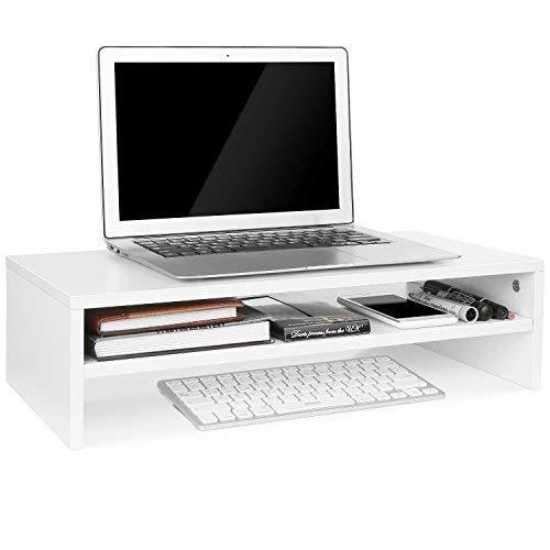 Homfa supporto in legno per tv, pc, computer e laptop, tavolino con 3 piani, 54 x 25.5 x 14 cm (bianco)