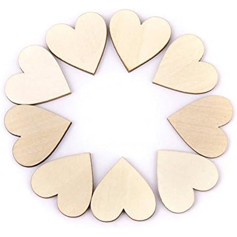 FENICAL 100 Piezas Corazón en Madera Rodajas de Madera Adornos Decoración de Boda Fiestas 20mm