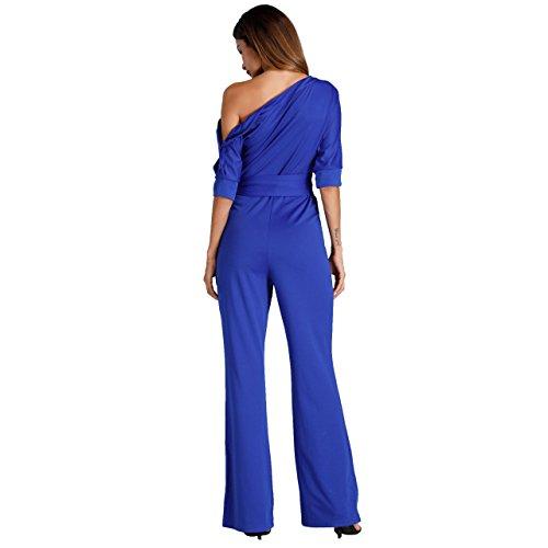 Damen Elegante Jumpsuit Lang Weites Bein Overalls Hoher Taille Spielanzug mit Gurt Halbe HÜlse weg von den Schulter, Rot Blau