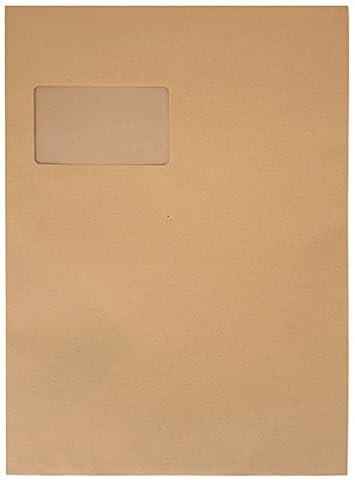 Idena 10239 - Versandtasche DIN C4, 90 g/m², selbstklebend, mit Fenster, 250 Stück, FSC-Recycled, natron-braun