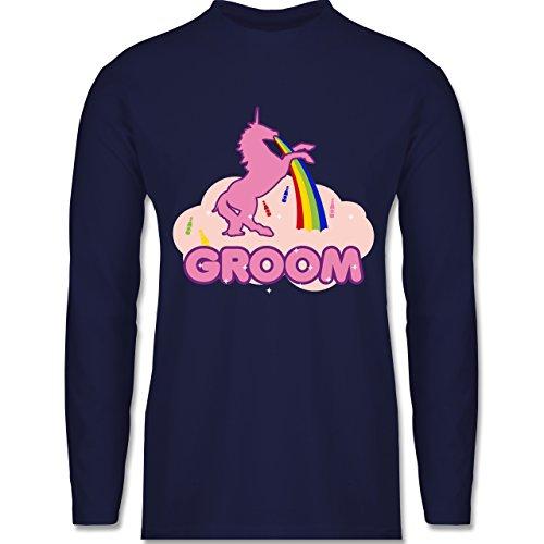 JGA Junggesellenabschied - JGA Groom Einhorn - Longsleeve / langärmeliges T-Shirt für Herren Navy Blau