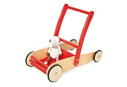 Pinolino walker Uli, made of wood, with brake system, baby walker with rubberized wooden wheels, for children from 1 - 6 years, red