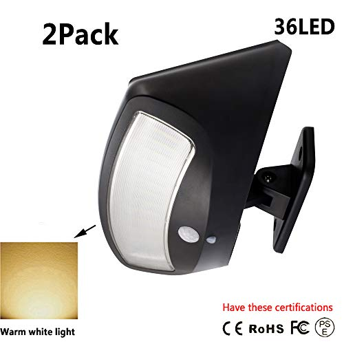 Himamk 36 LED Garten Solarleuchten, IP65 Outdoor Wandleuchte, Solar-Außensicherheits-Wandleuchten,Wasserdicht 2 Pack,Black(warmlight)