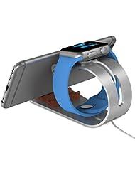 XGUO Apple Watch Support iWatch Aluminum Charging Dock Charge Station d'accueil pour Apple Watch & iPhone haut de gamme Cradle Support pour Apple regarder 38mm et 42mm, iPhone7 / 6 / 6s / 6 plus / 6s plus /, iPhone5 / 5s / 5E (2-in-1 conception) en Argent