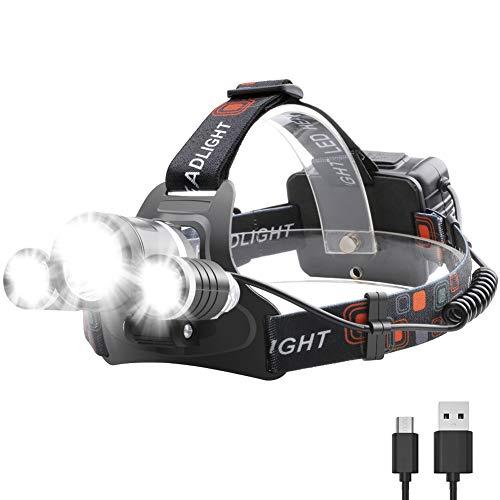 Lightess Kopflampe LED USB StirnlampeWiederaufladbarKopfleuchtenWasserdicht3*XML-T6 LEDs 4 Modi für Angeln Laufen Joggen Jogging Campen Radfahren Outdoor Indoor