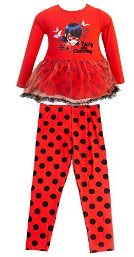 Miraculous ladybug e cat noir - completo set 2 pz maglia mglietta a maniche lunghe con tulle e leggings a pois - bambina - 4641hr [rosso/nero - 4 anni - 104 cm]