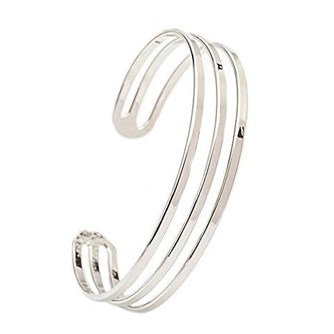 LUFA Bijoux Love Trois lignes Stripe Shape Ouverture Femme Cuff Bracelet