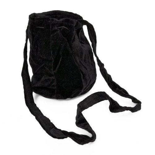 Sac bandoulière médiéval tissu fermeture avec cordelette noir