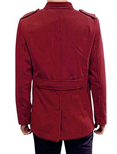 sourcingmap Uomo Colletto Verticale Monopetto Due Tasche Slim Fit Worsted Cappotto Rosso