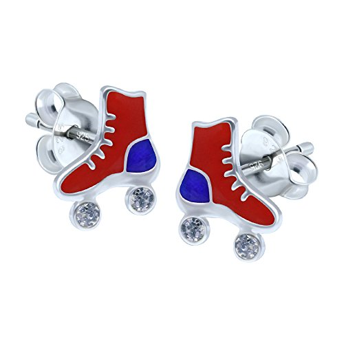 Rote Rollschuh-Ohrringe – Sterling Silber