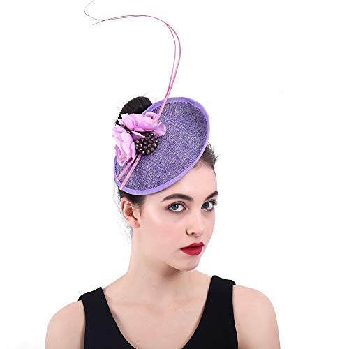 Y.L Master Hut Kopfschmuck Damen Blumen Federn Fascinator Für Hochzeiten Königliche Pferderennen In ()