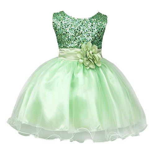 Mädchen Kinder Mit Kleider Pailletten Blumenmädchenkleider Hochzeitskleid Brautjungfern Kleid...