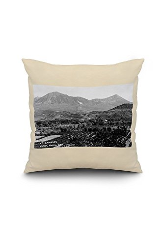 Paonia, Colorado - Panoramic View of Town, Mt Lamborn Photograph (18x18 Spun Polyester Pillow Case, White Border)