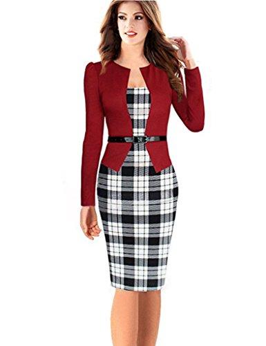 Minetom Damen Hahnentritt Elegant Kleider Business Kleider Abendkleid Etuikleid Casual Knielang Party Dress mit Gürtel Rot 2 DE 44 - Einreiher Mit Gürtel