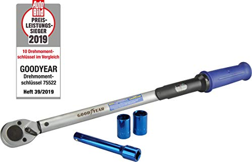 Goodyear 75522 - Llave dinamométrica (Incluye extensión e Insertos, 17 mm y 19 mm)