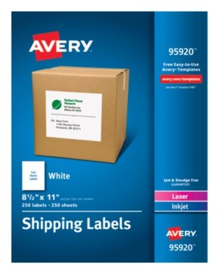 Avery-Dennison Ave95920 8.5 X 11 In. Shipping Label White Box Of 250