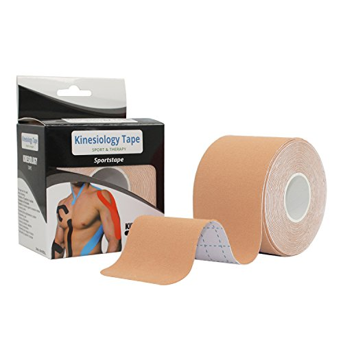 STpro Elastische Wasser Verband Physio Therapeutische Hilfe Therapie Kinesiologie Tape physiotherapy 5cm x 450cm ungeschnittenes Therapeutic Tape Fuer Arme, Haende & Finger Erste Hilfe Tape,Beige(Haut),1 Rolle