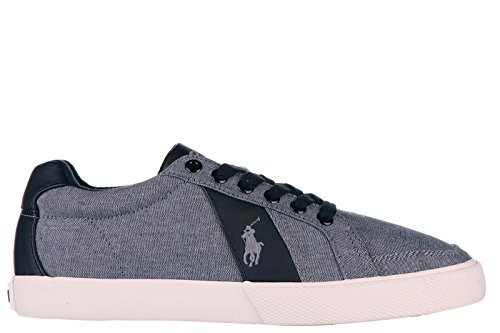 Polo Ralph Lauren Chaussures Baskets Sneakers Homme en Coton Hugh Gris