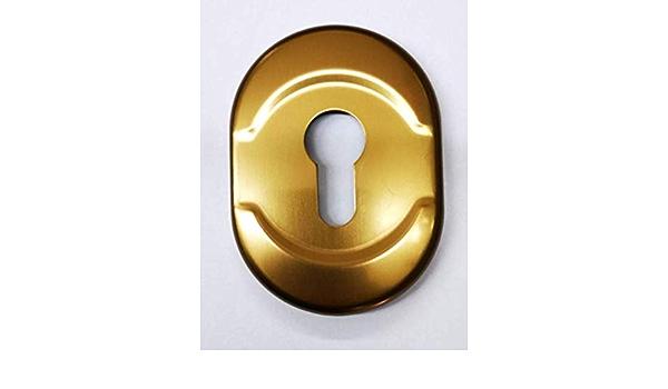 mm.h.182x62 .Bocchetta completa di sottoplacca e inserti chiave Mostrina in alluminio doppia mappa colore oro ottone lucido interasse 85 mm.-placca per porta blindata,placchetta-borchia ATRA-DIERRE-