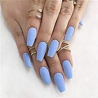 Simsly Coffin Mate Uñas postizas Punta de uñas postizas largas Azul Cubierta completa Bailarina Prensa natural sobre uñas artificiales para mujeres y niñas (24 piezas)