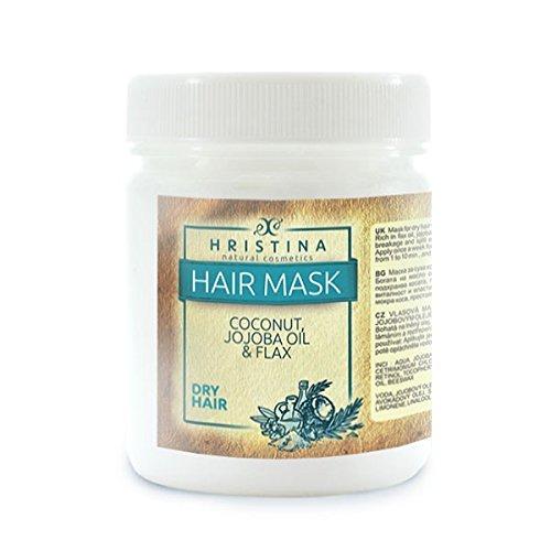 Luxe 200 ml Noix de coco cheveux Masque Coconut Produit 100% Naturel Cheveux Secs Noix de Coco, Jojoba, Graines de lin & Huile de Neem, l'humidité Hristina Cosmetics,