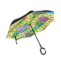 Animal Farm Number Game Lion Reverse Umbrellas with C-Shaped Handle Customize Anti-UV Folding for Car Windproof