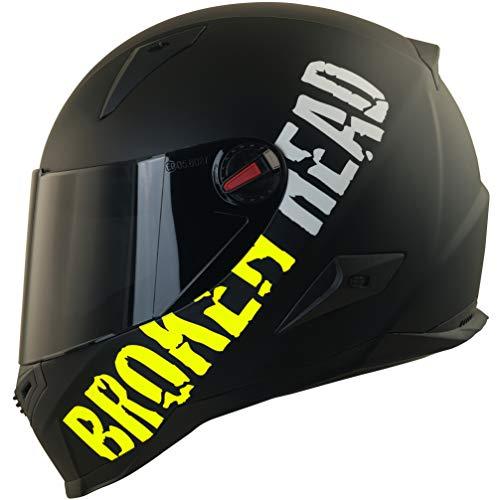 Broken Head BeProud Ltd. - Schlanker Motorradhelm Mit Schwarzem Zusatz-Visier - Matt-Schwarz & Neon-Gelb - Größe S