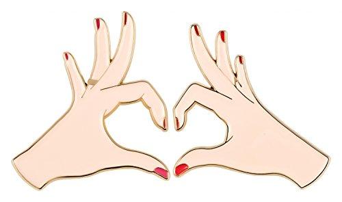 likalla Pin-Anstecker Set Besties für beste Freundinnen aus Soft-Emaille, gold-plattiert, 3-farbig, zwei ein Herz formende Hände -