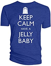 Official Doctor Who Keep Calm Have a Jelly Baby Adult T-Shirt, Blue, Medium