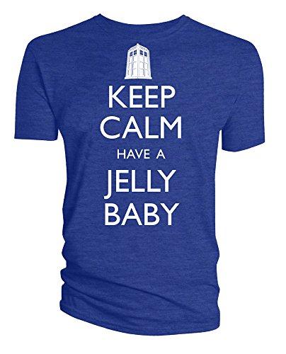 "Offizielles ""Doctor Who Keep Calm and Have a Jelly Baby T-Shirt für Erwachsene Blau - Blau"